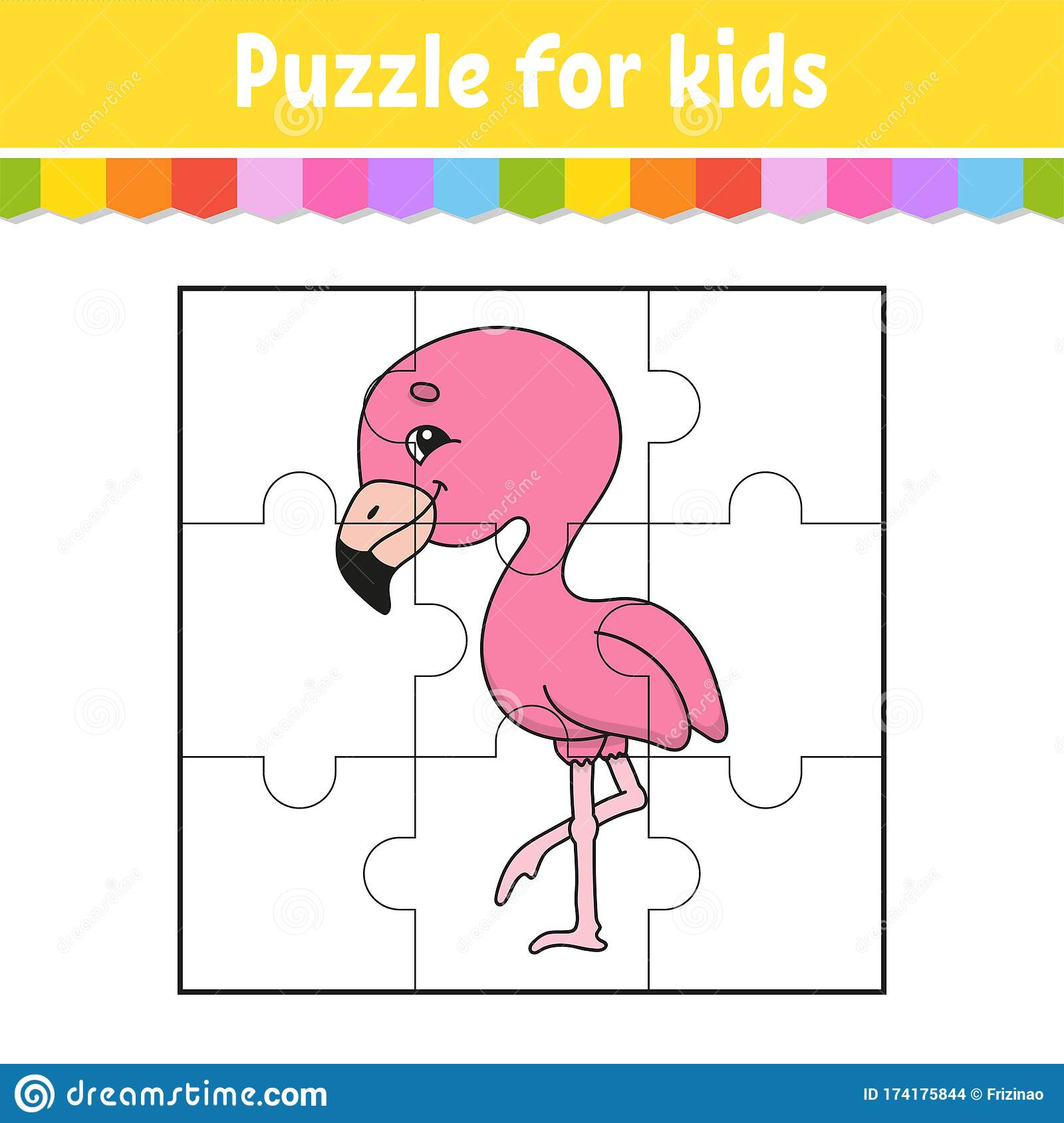 Puzzle Game For Kids Pink Flamingo Education Worksheet