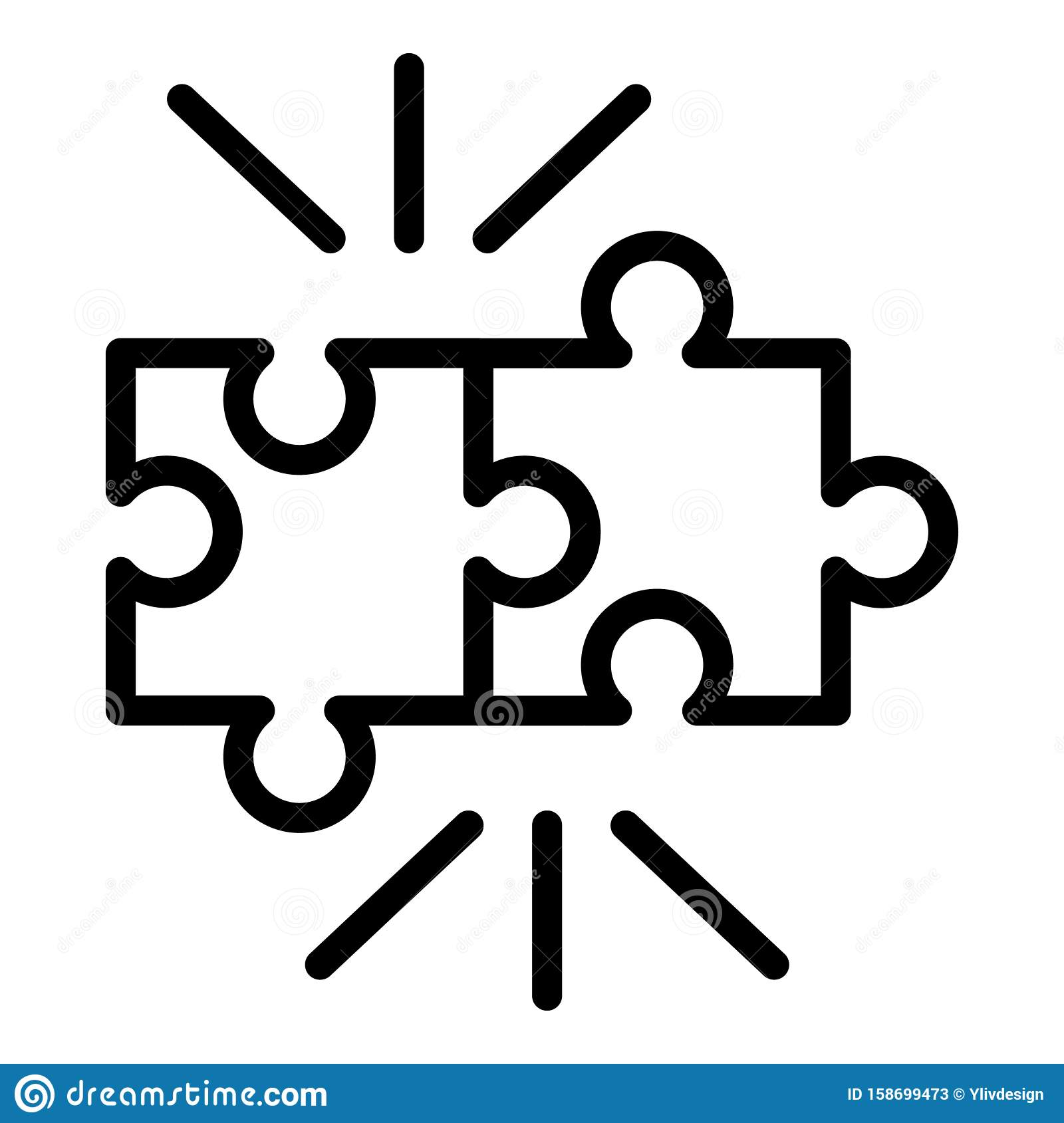 Puzzle Pieces Icon Outline Style Stock Vector