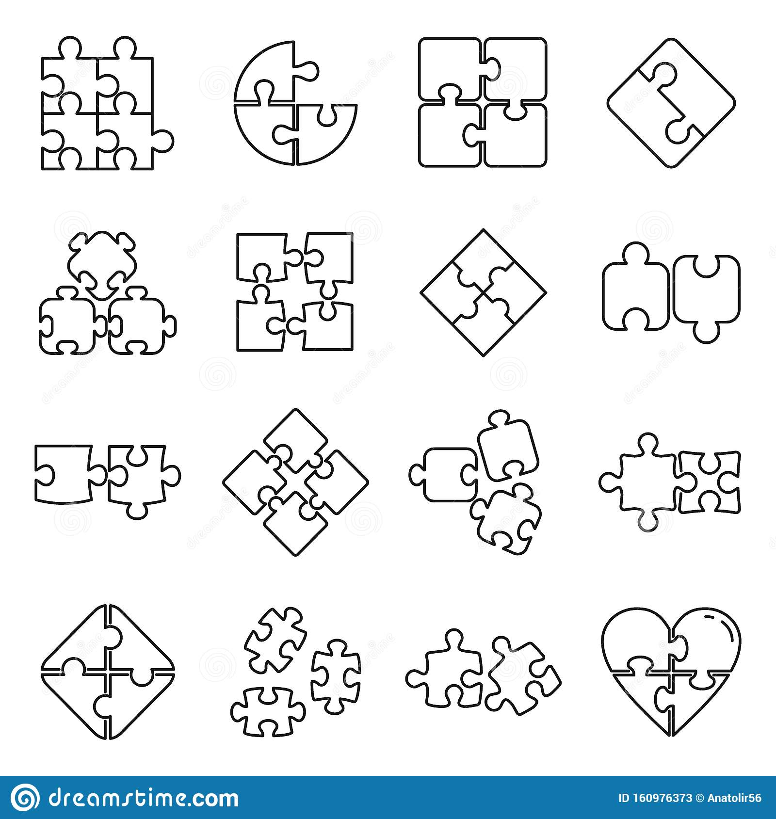Puzzle Pieces Icons Set Outline Style Stock Vector