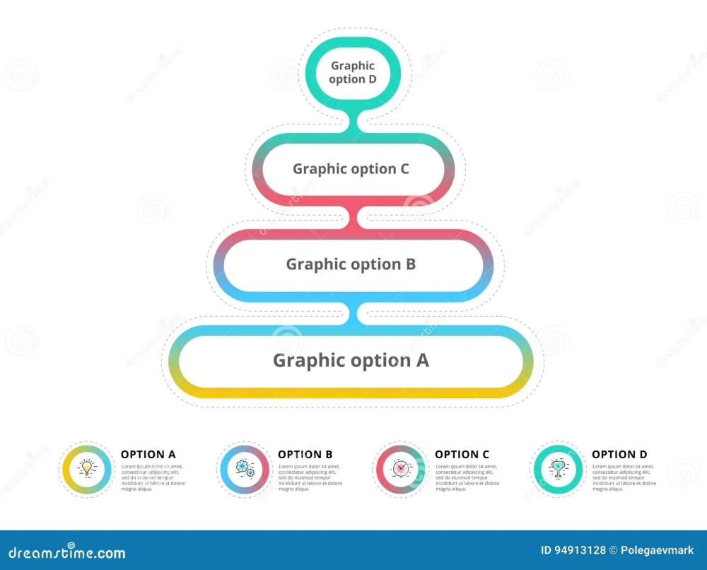 medium resolution of pyramid 4 step process chart infographics with option circles f