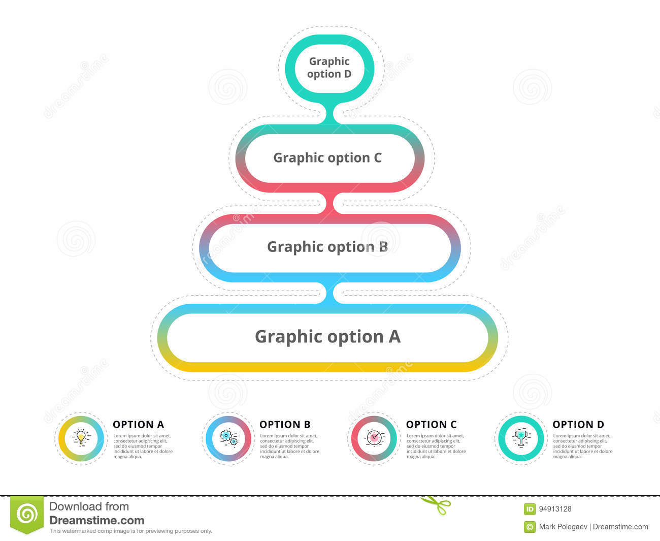 hight resolution of pyramid 4 step process chart infographics with option circles f