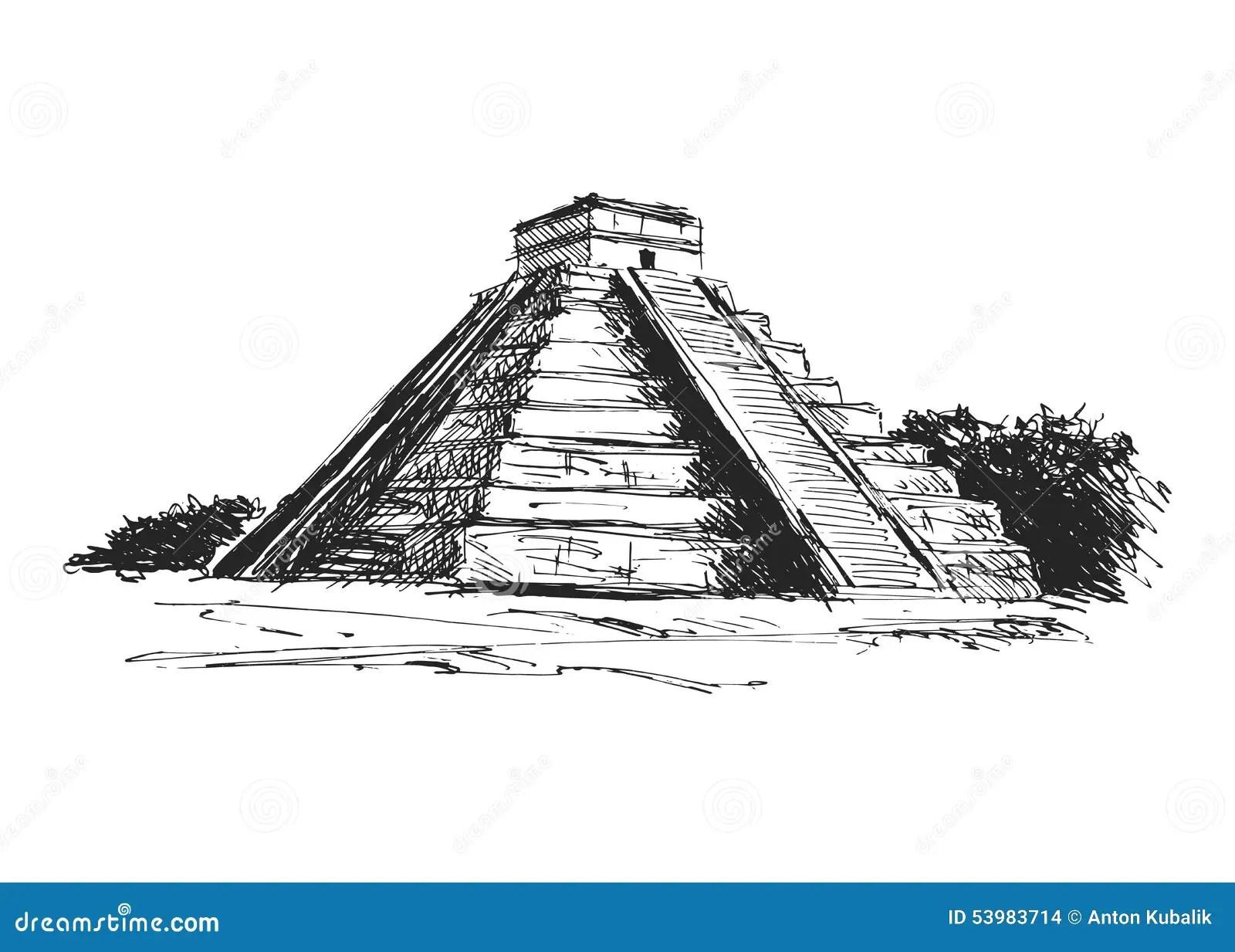 Pyramide De Maya De Dessin De Main Illustration De Vecteur