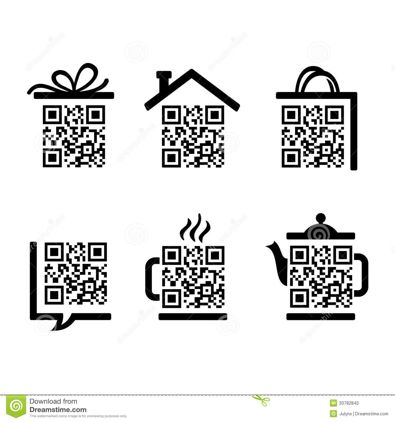 QR-Code. Set pictograms stock vector. Illustration of
