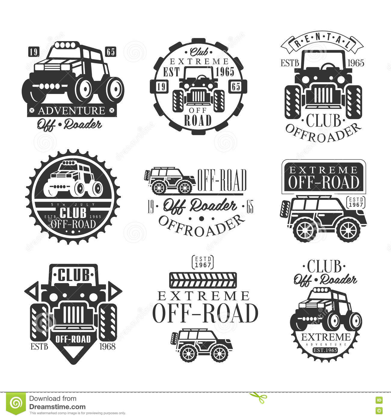 Quad Bike Rental Club Set Of Emblems With Black And White