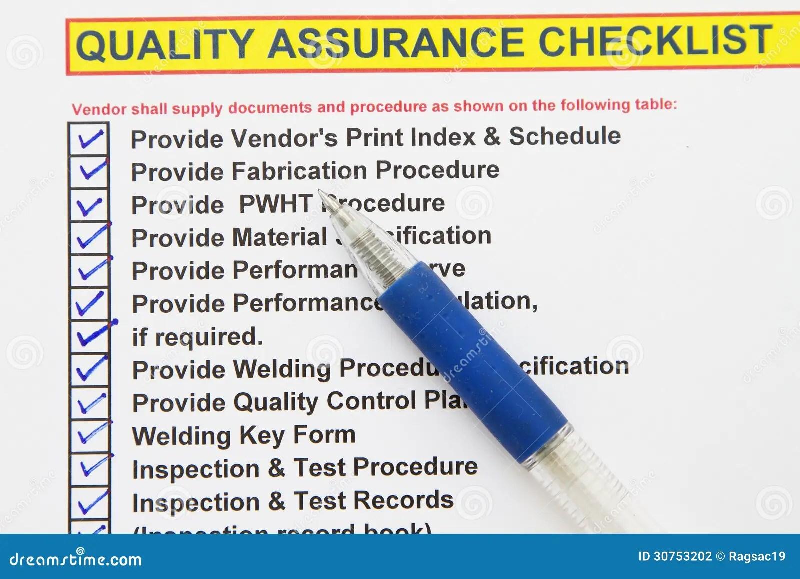 Quality Assurance Checklist Stock Photo
