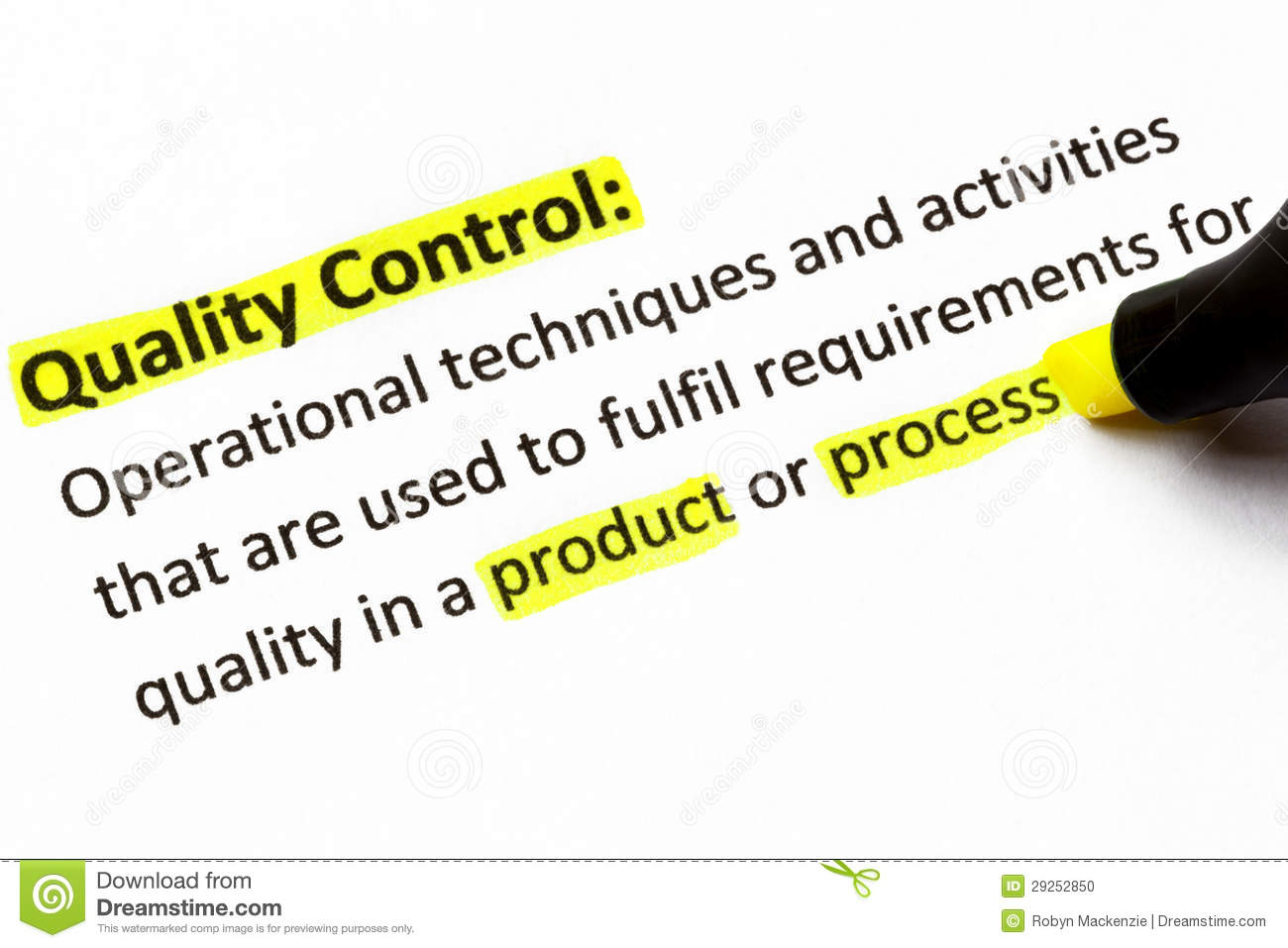 Quality Control Definition Stock Photo Image Of Quality