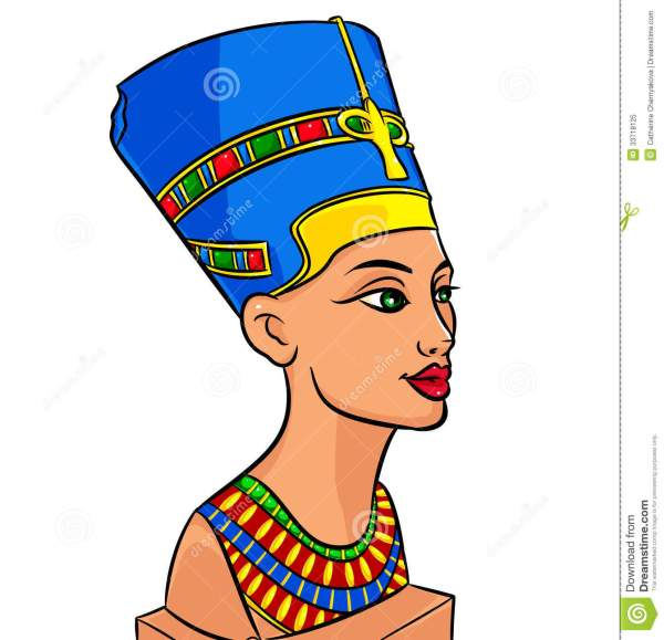Queen Of Egypt Nefertiti Cartoon Stock Illustration