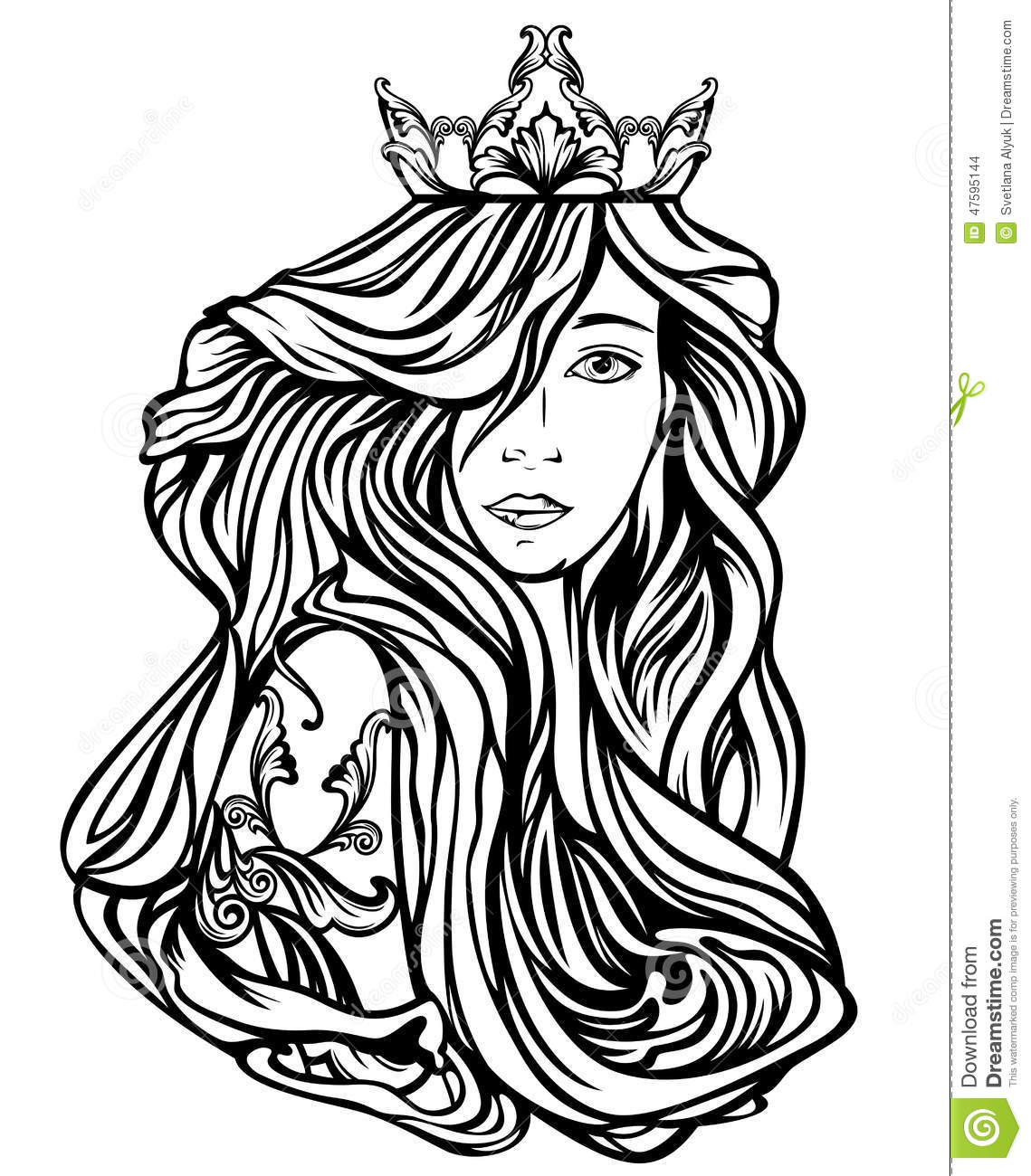 Queen Portrait Stock Vector Illustration Of Illustration