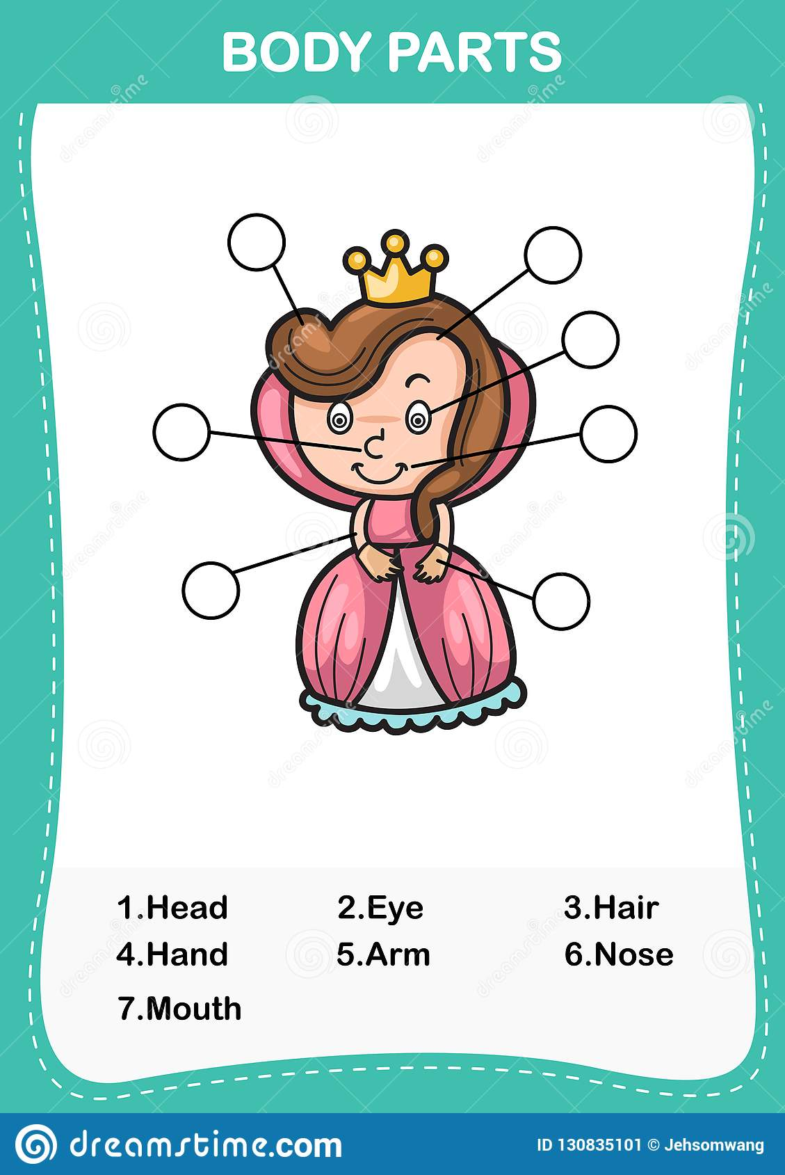Queen Vocabulary Part Of Body Write The Correct Numbers Of