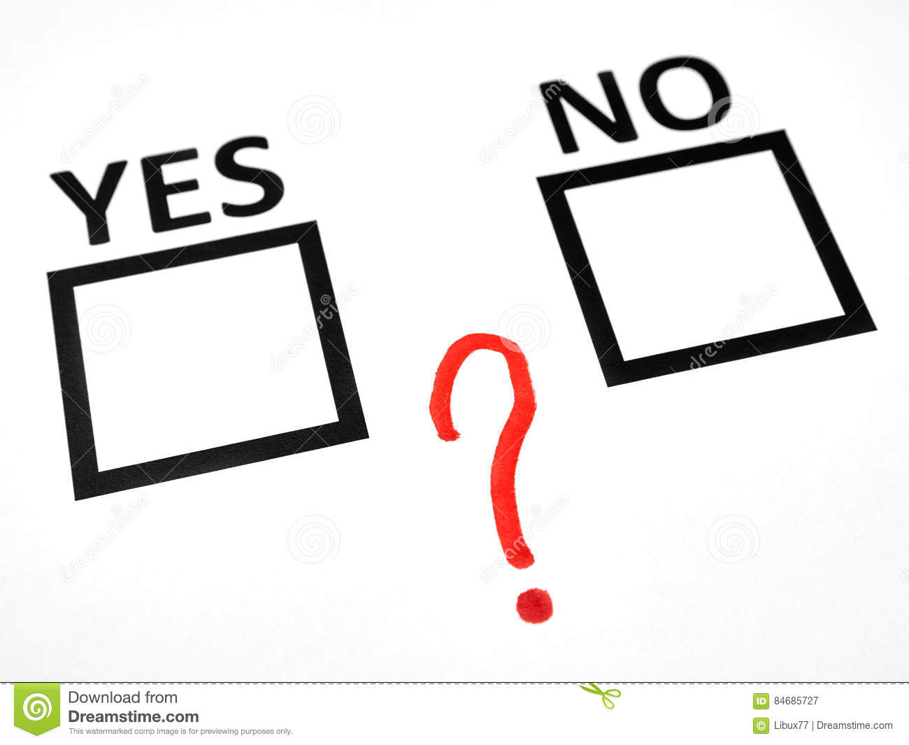 Question Mark Between Yes No Checkbox Stock Image