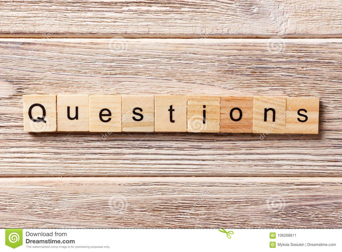 hight resolution of questions word written on wood block questions text on table concept