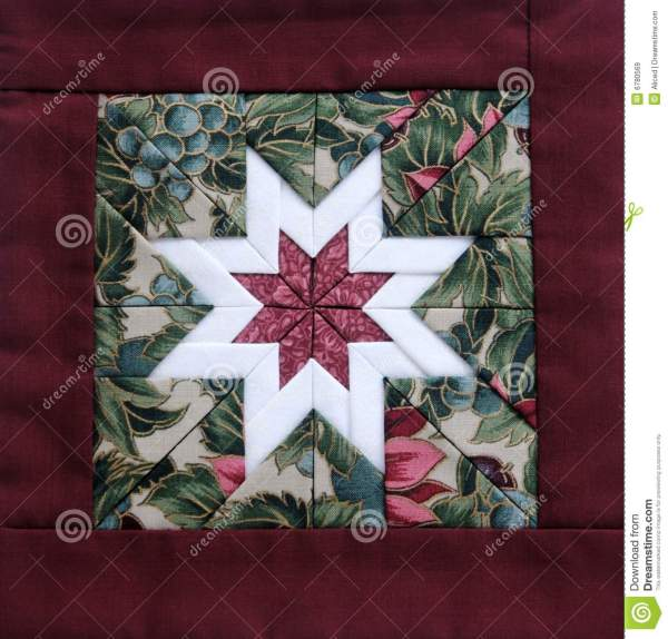 Quilt Star Maroon Stock Of Decorative Green