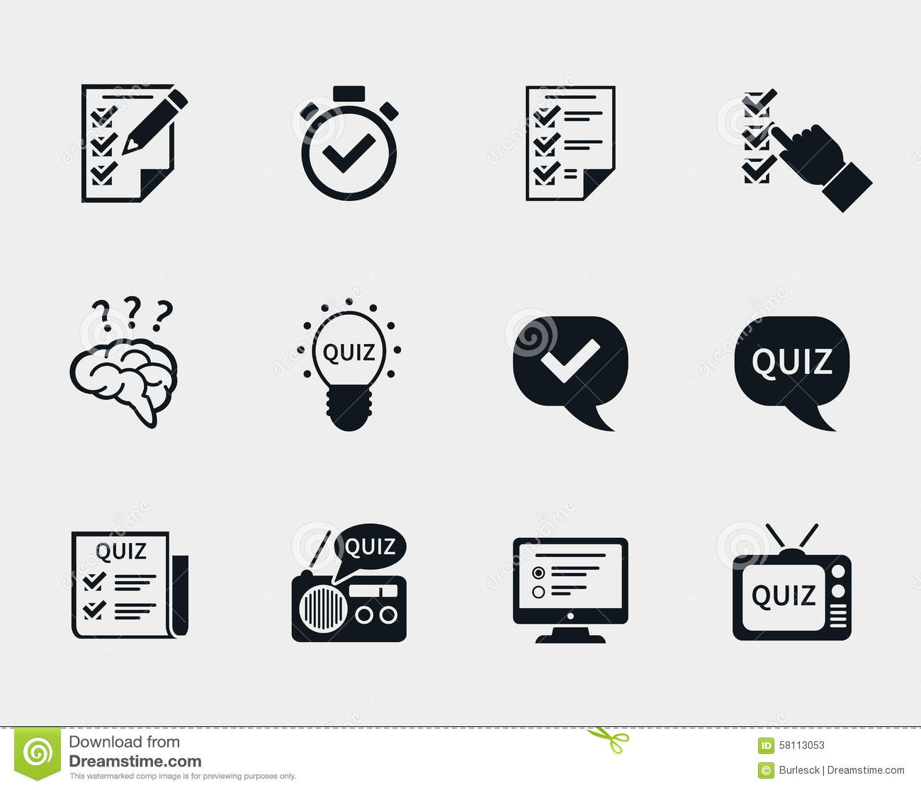 Quiz icon set stock vector. Illustration of education