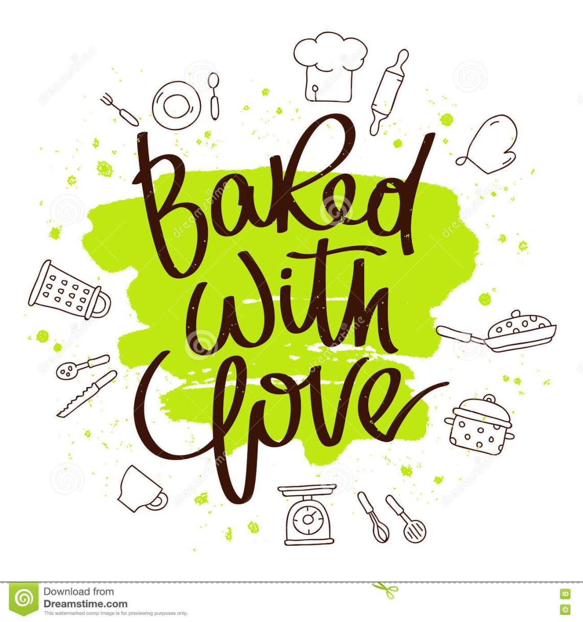 Download Quote Baked with love stock vector. Illustration of print ...