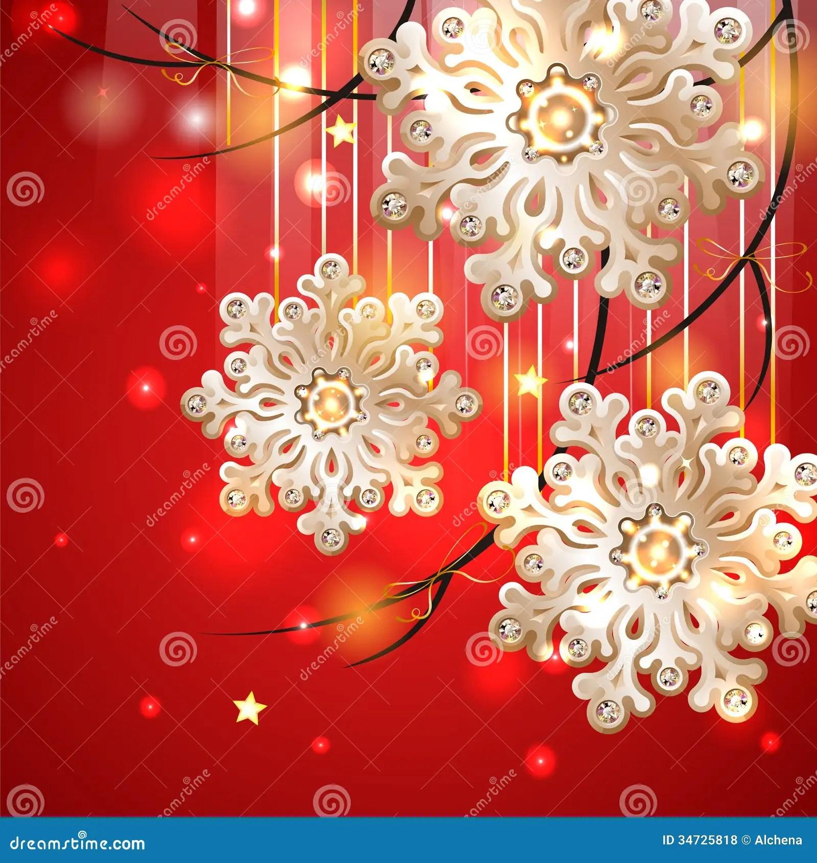 Rd Julkort Med Guld Snflingor Vektor Illustrationer