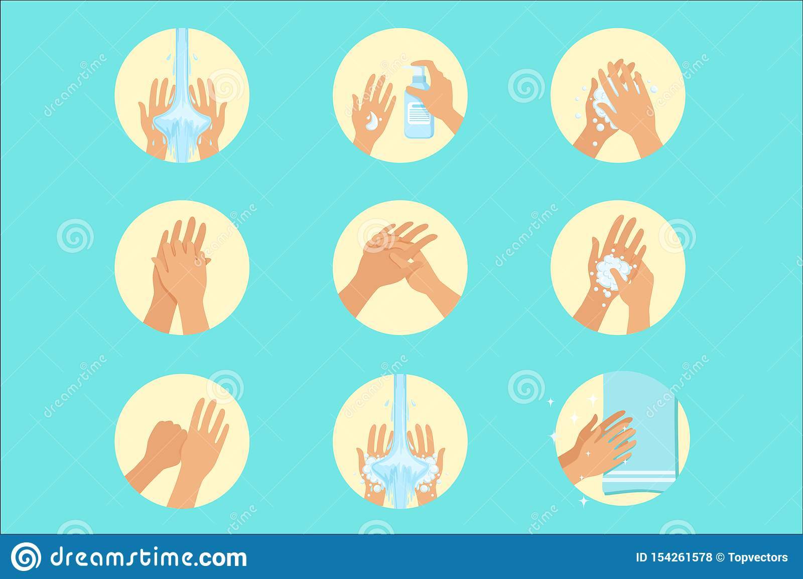 Hands Washing Sequence Instruction Infographic Hygiene