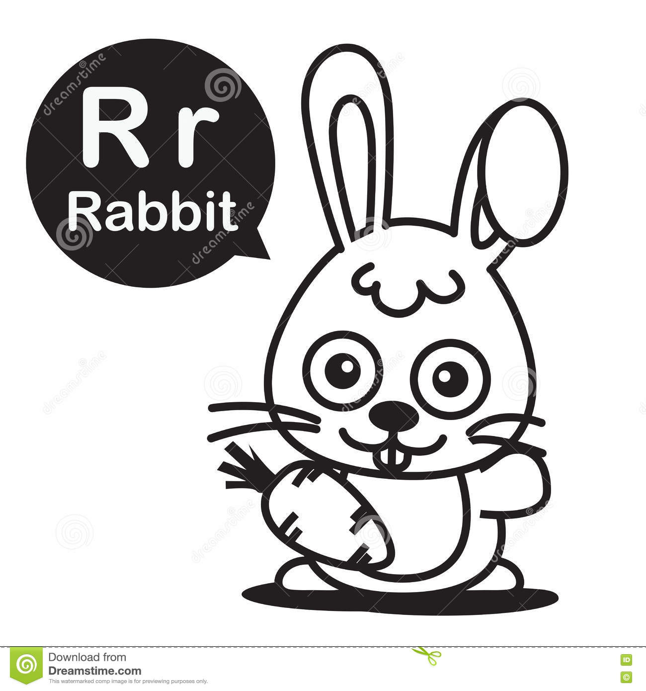 R Rabbit Cartoon And Alphabet For Children To Learning And