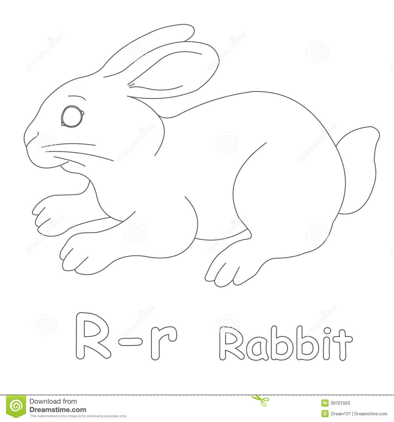 R For Rabbit Coloring Page Stock Illustration