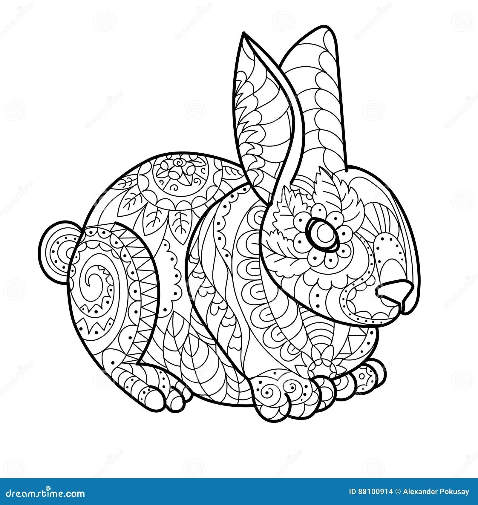 Rabbit Bunny Coloring Book Vector Illustration Stock