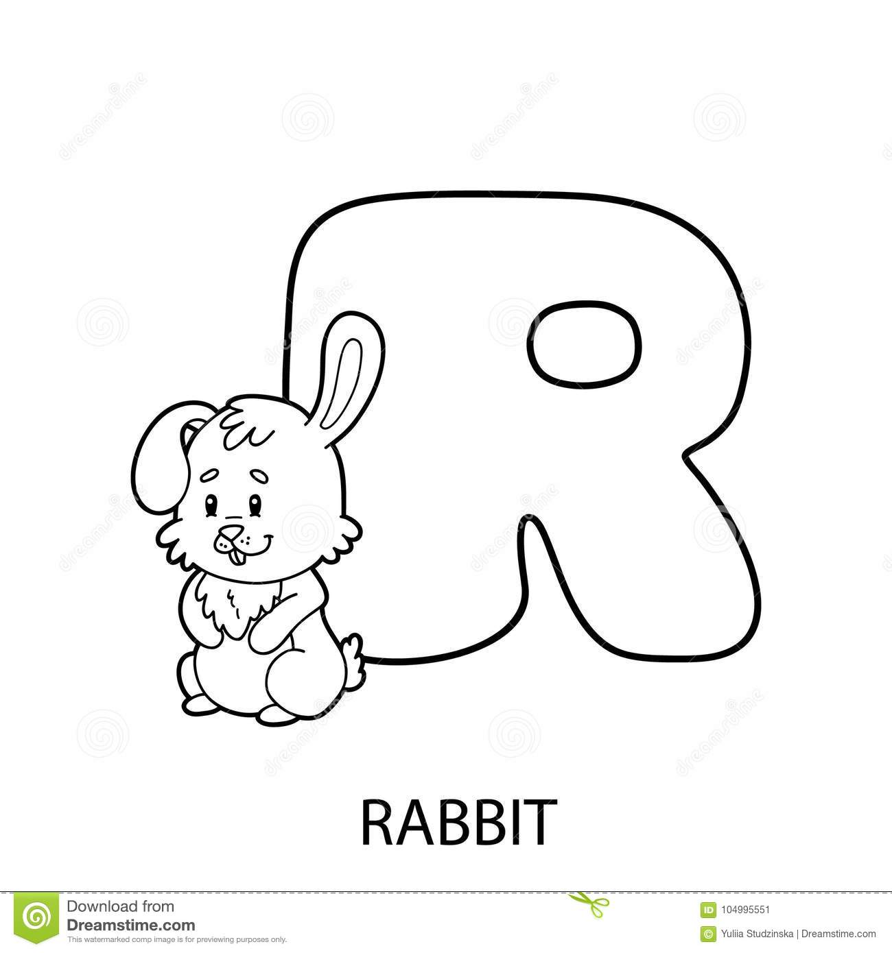 Rabbit coloring page stock vector. Illustration of drawn