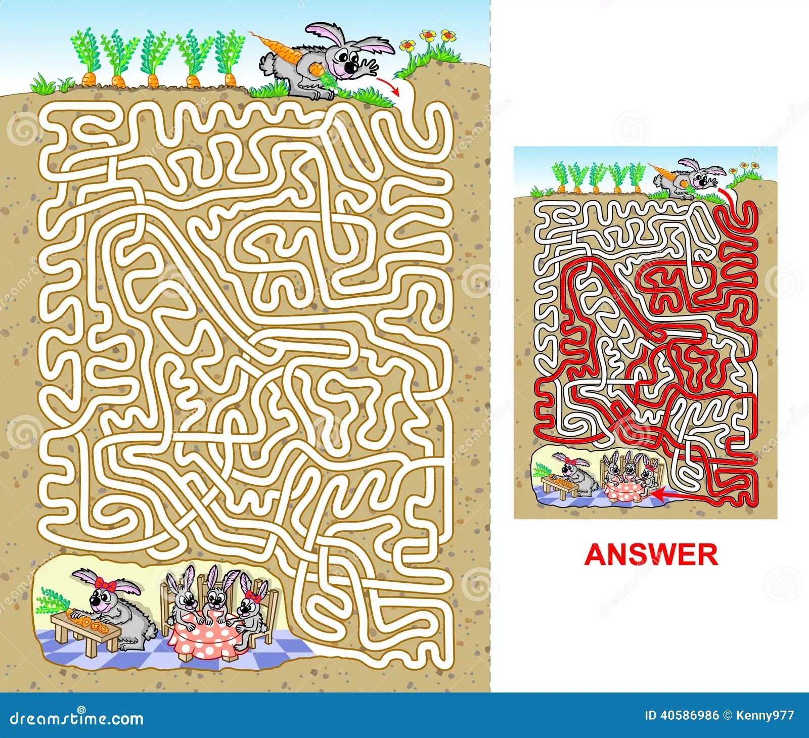 Rabbit Maze For Kids Stock Vector
