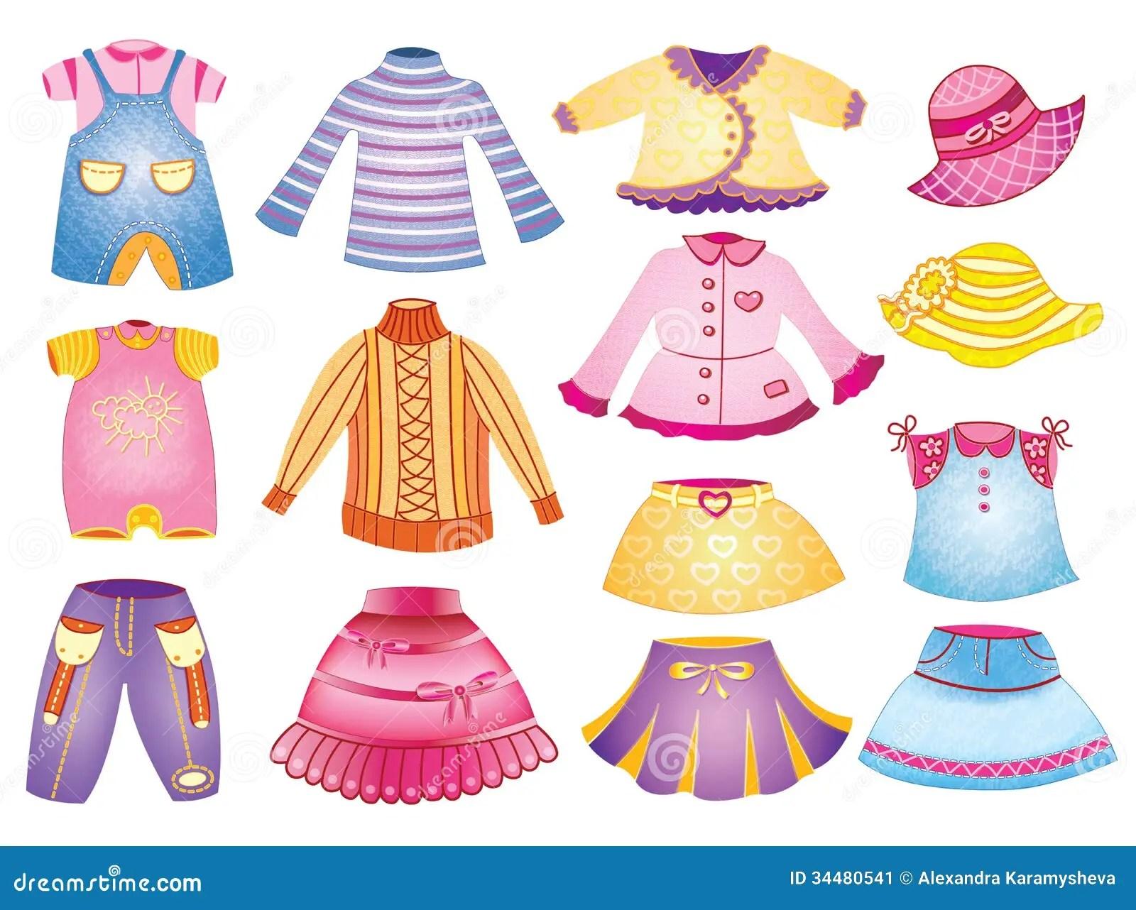 Raccolta Dell Abbigliamento Dei Bambini Illustrazione