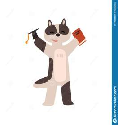 cartoon raccoon knowledge education animal character vector graduate student concept