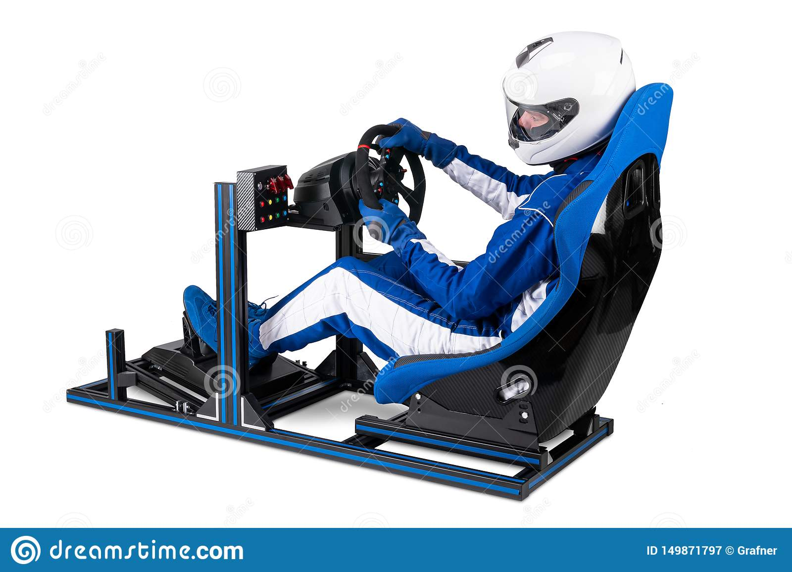 race driver in blue
