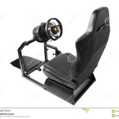 Driving Simulator Chair Hammock Sling With Pad Racing Cockpit Seat And Wheel Stock Photo