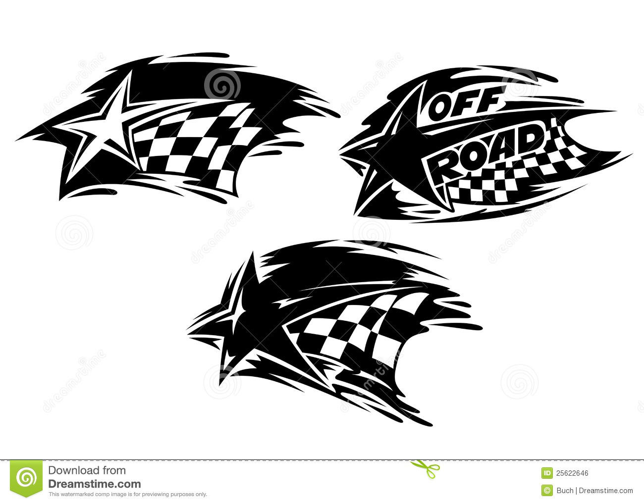 Racing Stars With Flags Stock Vector Illustration Of Bike