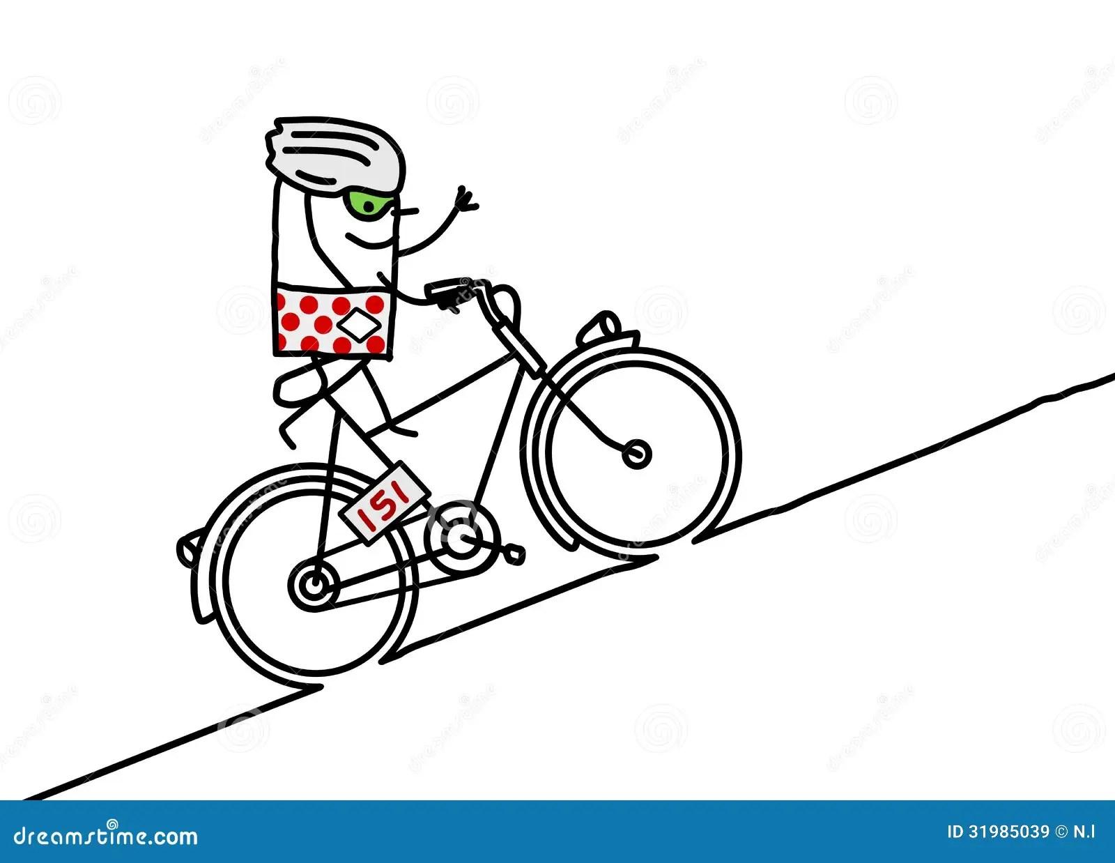 Radfahrer U Berg Vektor Abbildung Illustration Von