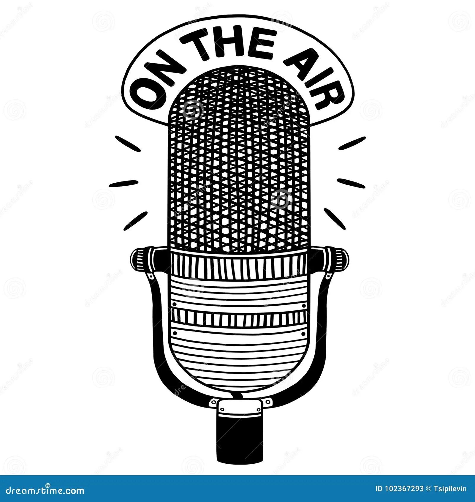 Radio Microphone Outline Illustration Stock Illustration