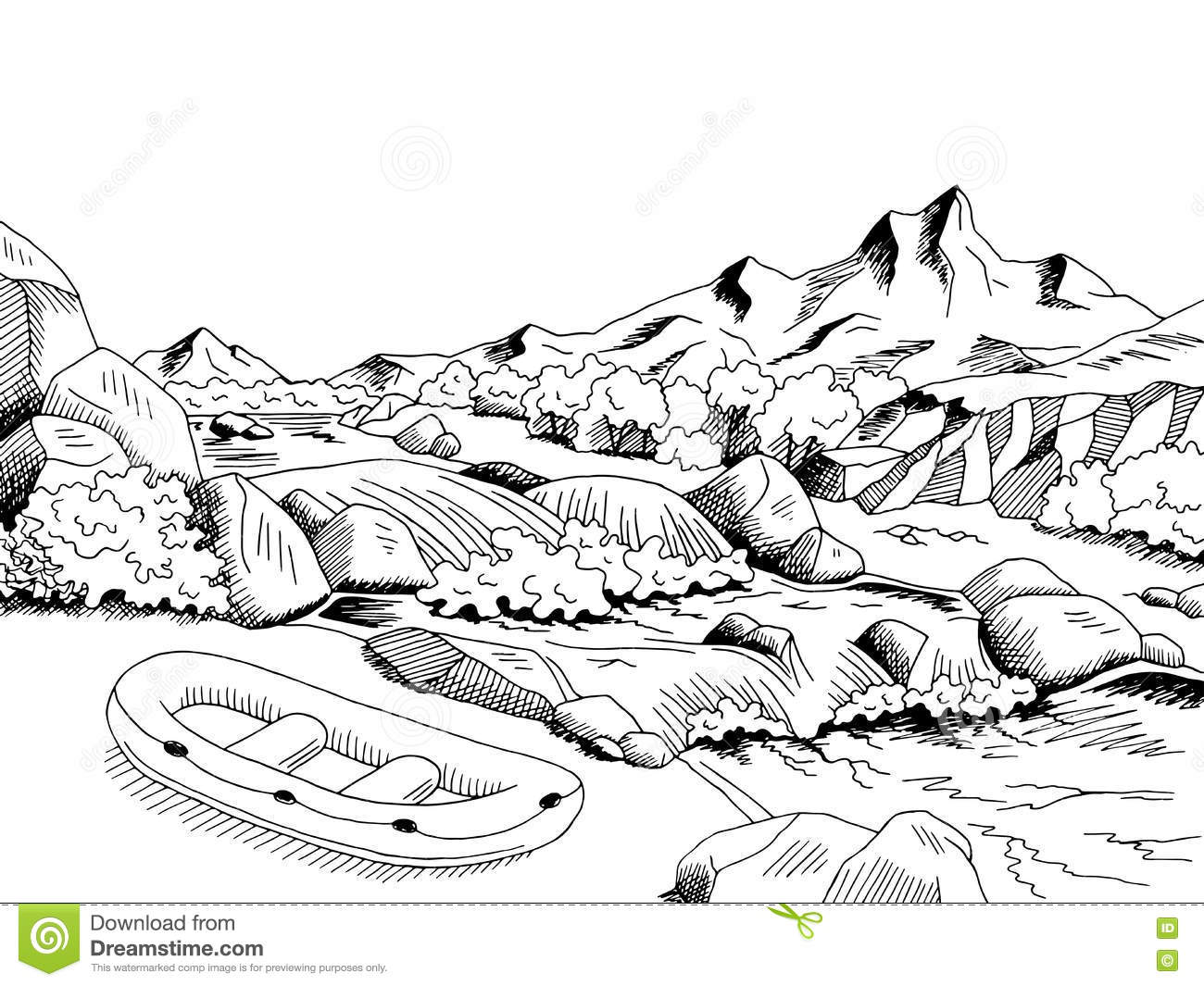 Raft River Mountain Boat Graphic Art Black White Landscape