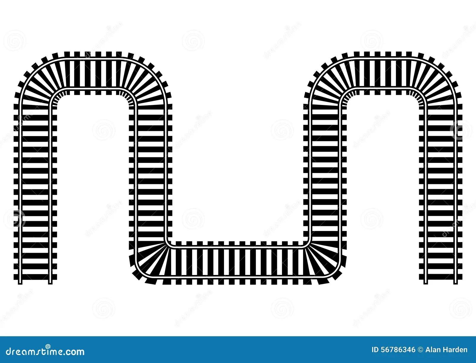 Curved Train Tracks Cartoon
