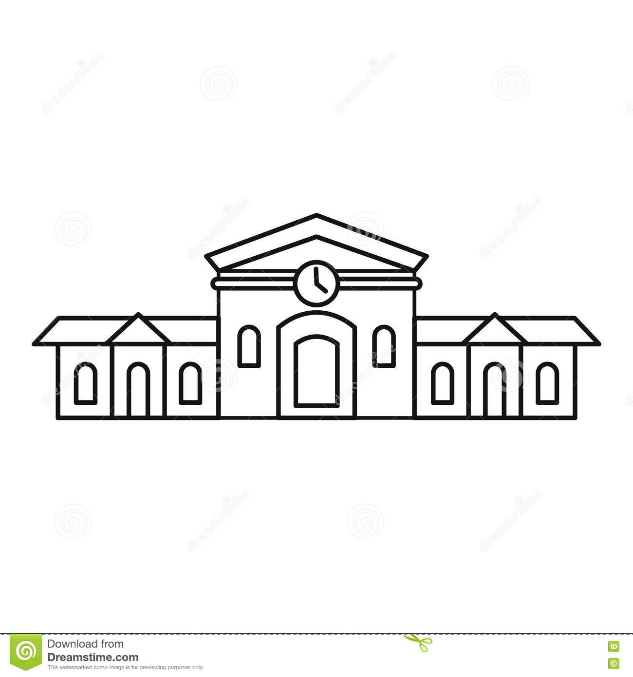 Railway Station Building Icon Outline Style Stock Vector