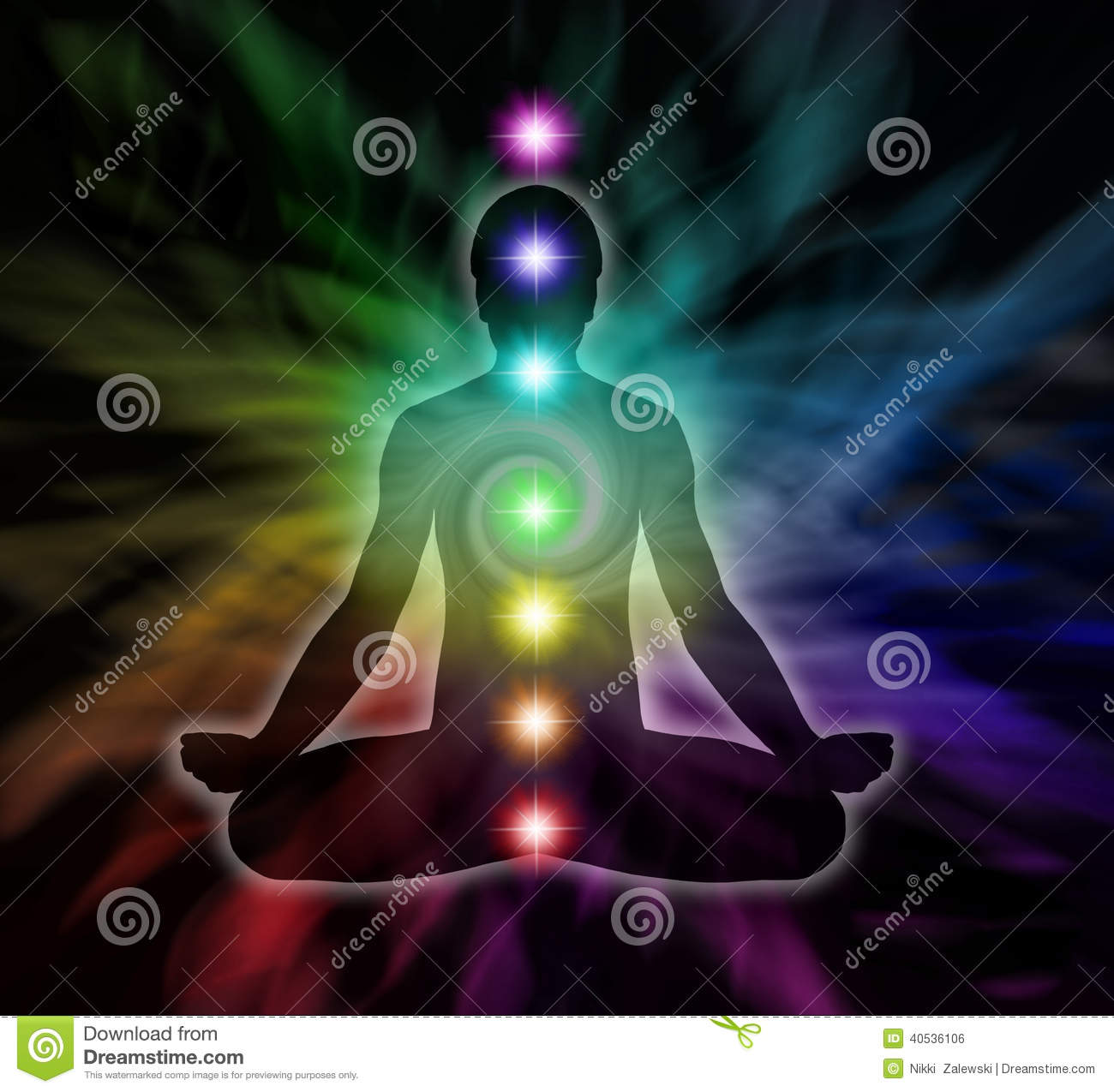 hight resolution of silhouette diagram of a man in lotus meditation position with seven chakras on flowing rainbow energy background