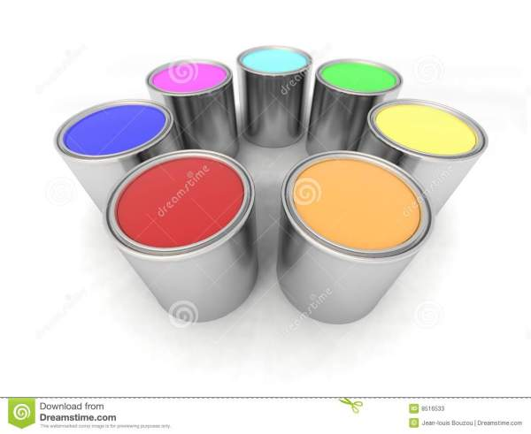 Rainbow Color Paint Cans Stock - 8516533