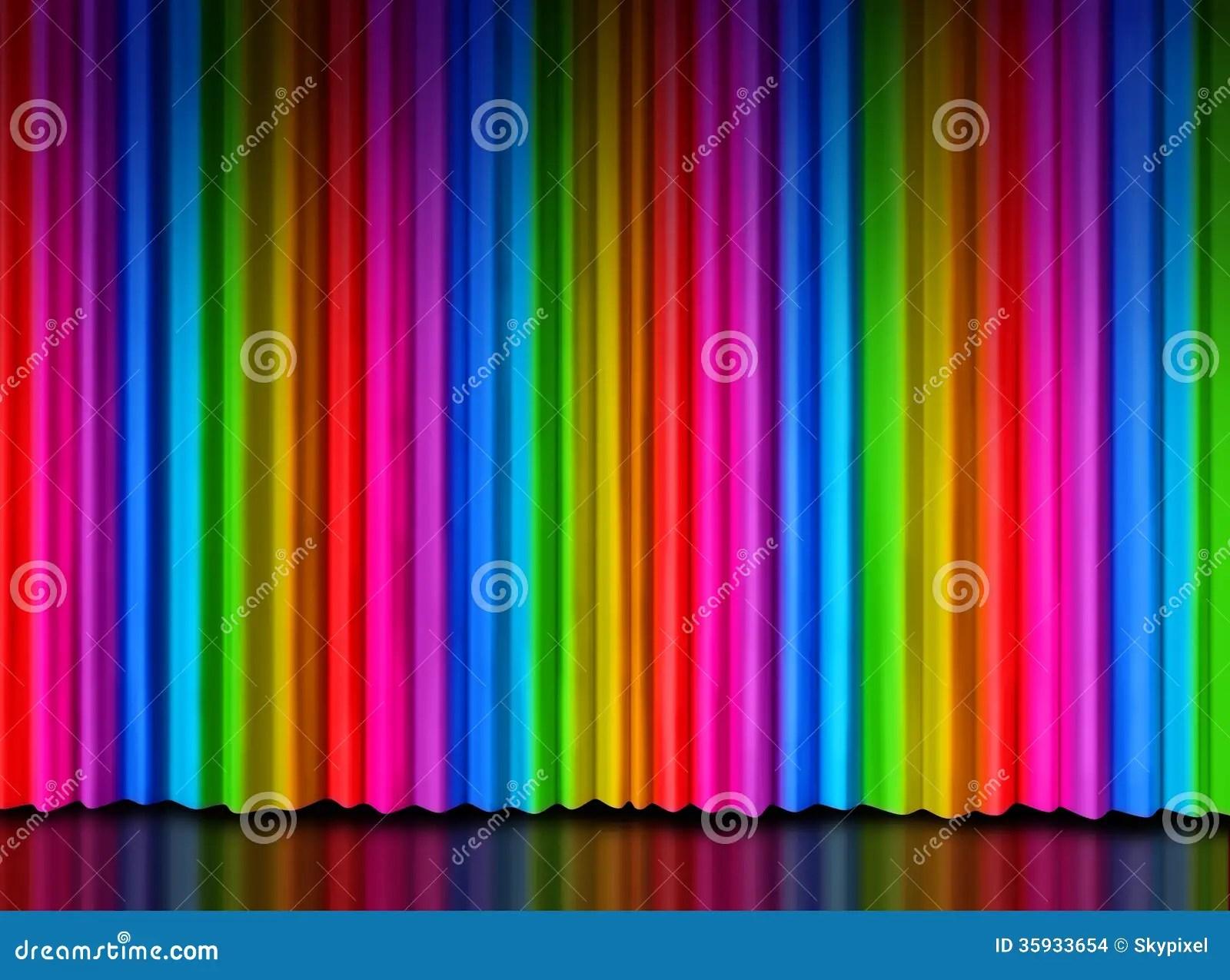 Rainbow Curtain On Theater Stage Stock Illustration