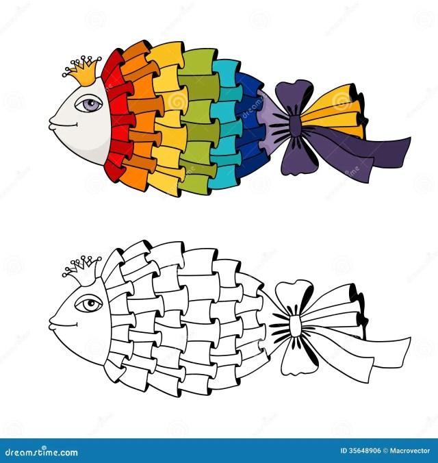 Rainbow fish coloring stock vector. Illustration of scrapbook