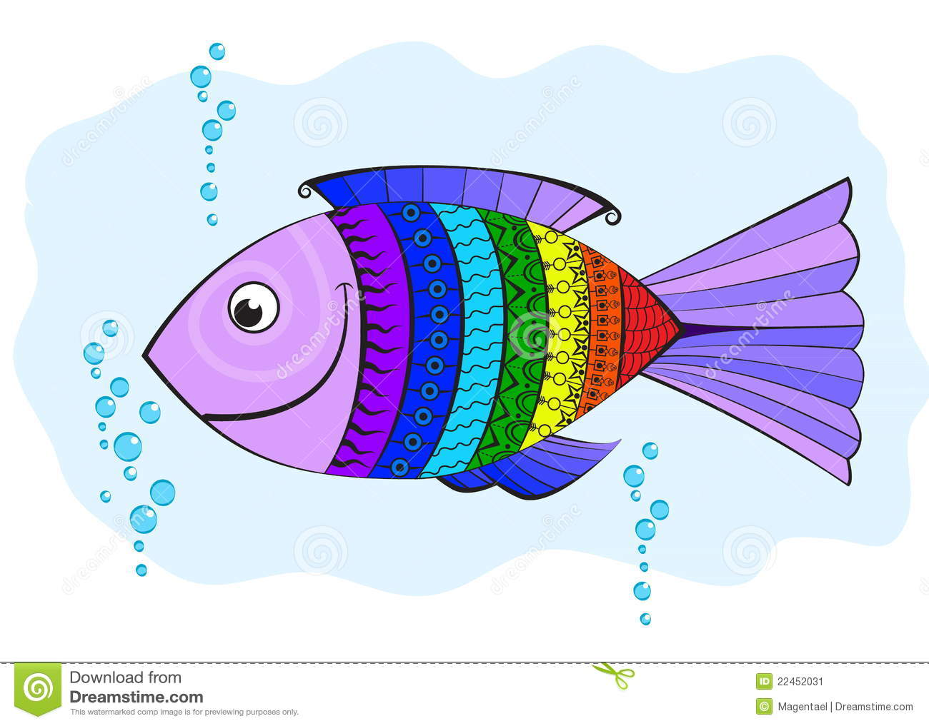 Rainbow Fish Covered With Symbols Stock Vector