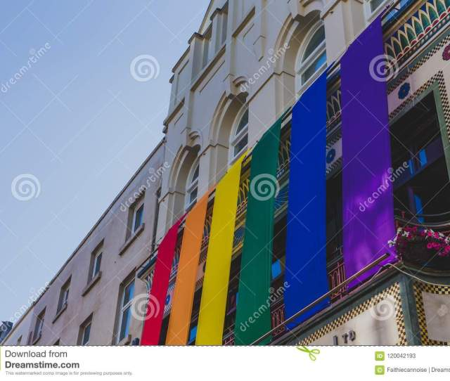 Dublin Ireland June 27th 2018 Rainbow Flags Off A Building In Dublins Main Street Grafton Street For The Pride Month In Support Of Gay Rights And
