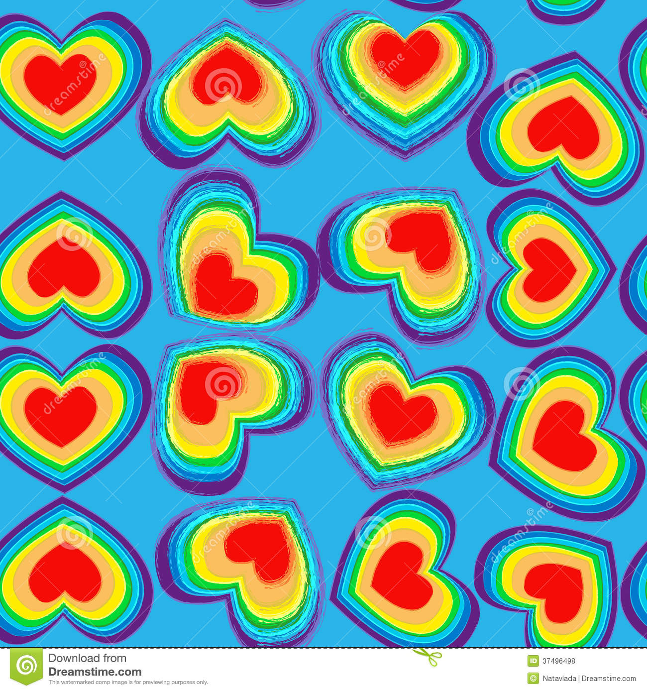 Cute Colour Wallpaper Rainbow Hearts Seamless Pattern Stock Vector