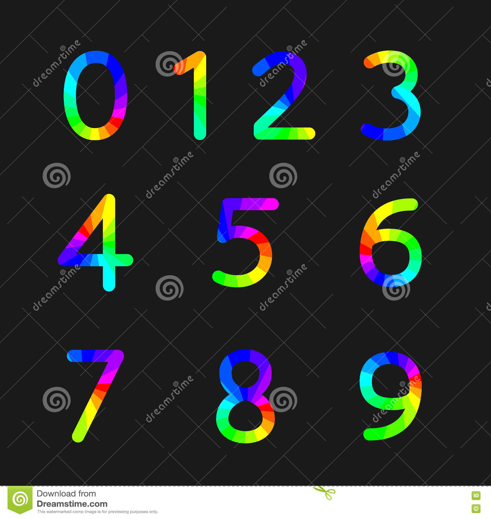 Rainbow Numbers Vector Illustration Stock Vector