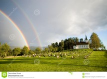 Rainbow Over Church Norway Royalty Free Stock
