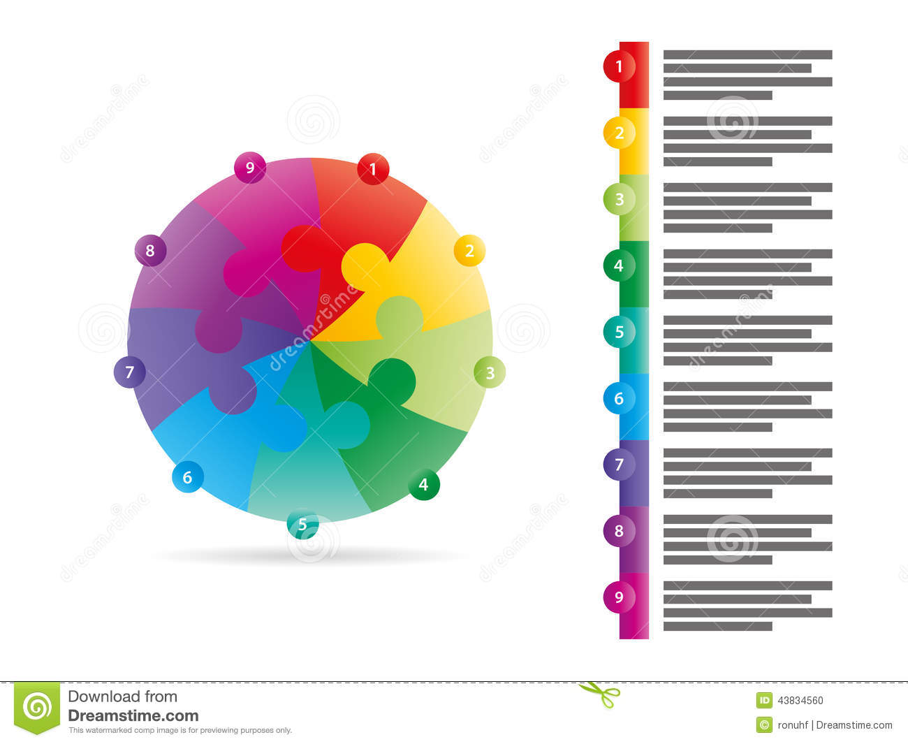 blank diagram template obd2 to obd1 distributor wiring rainbow spectrum colored nine sided arrow puzzle presentation infographic vector graphic ...