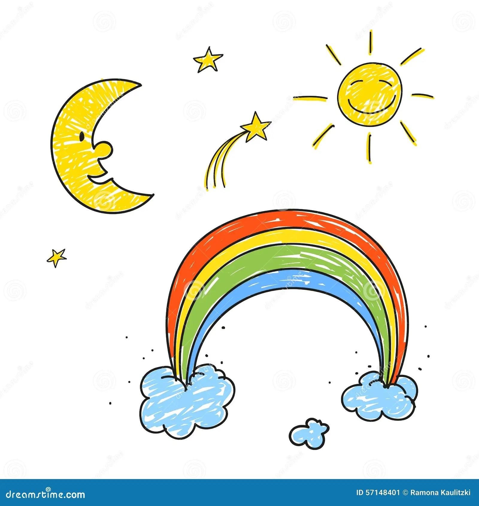 Rainbow Stars Sun And Moon Stock Illustration