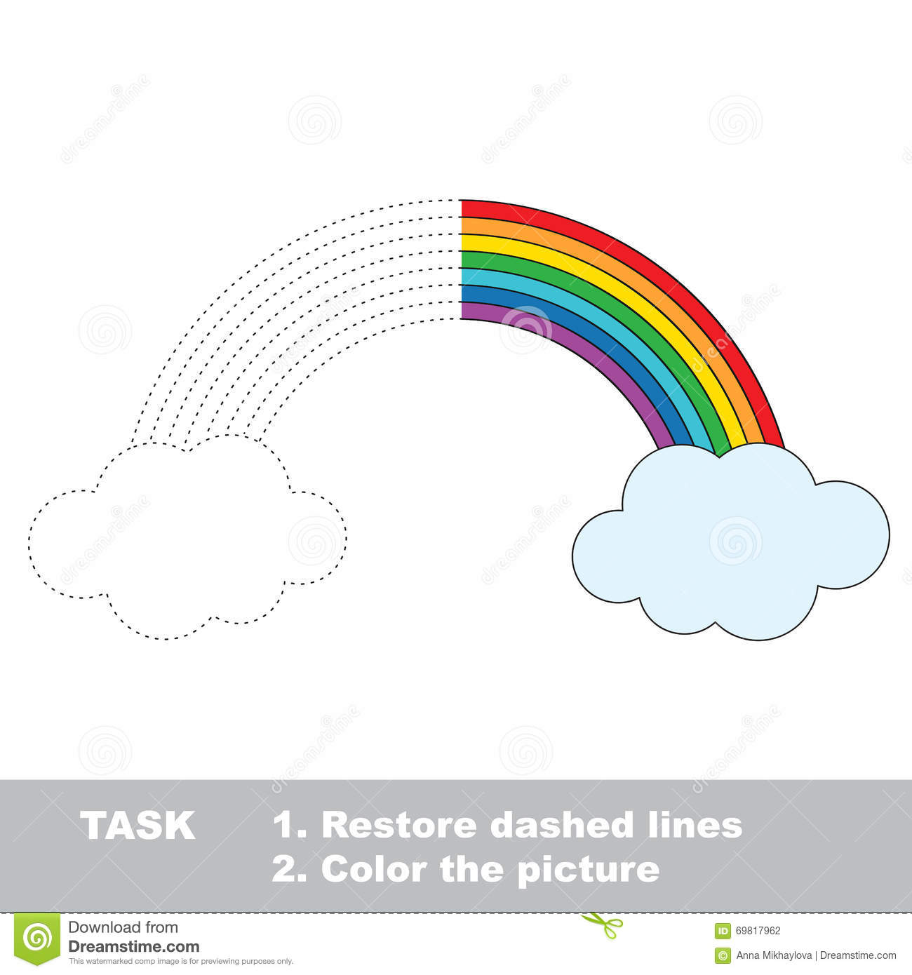 Rainbow To Be Colored Vector Trace Game Stock Vector