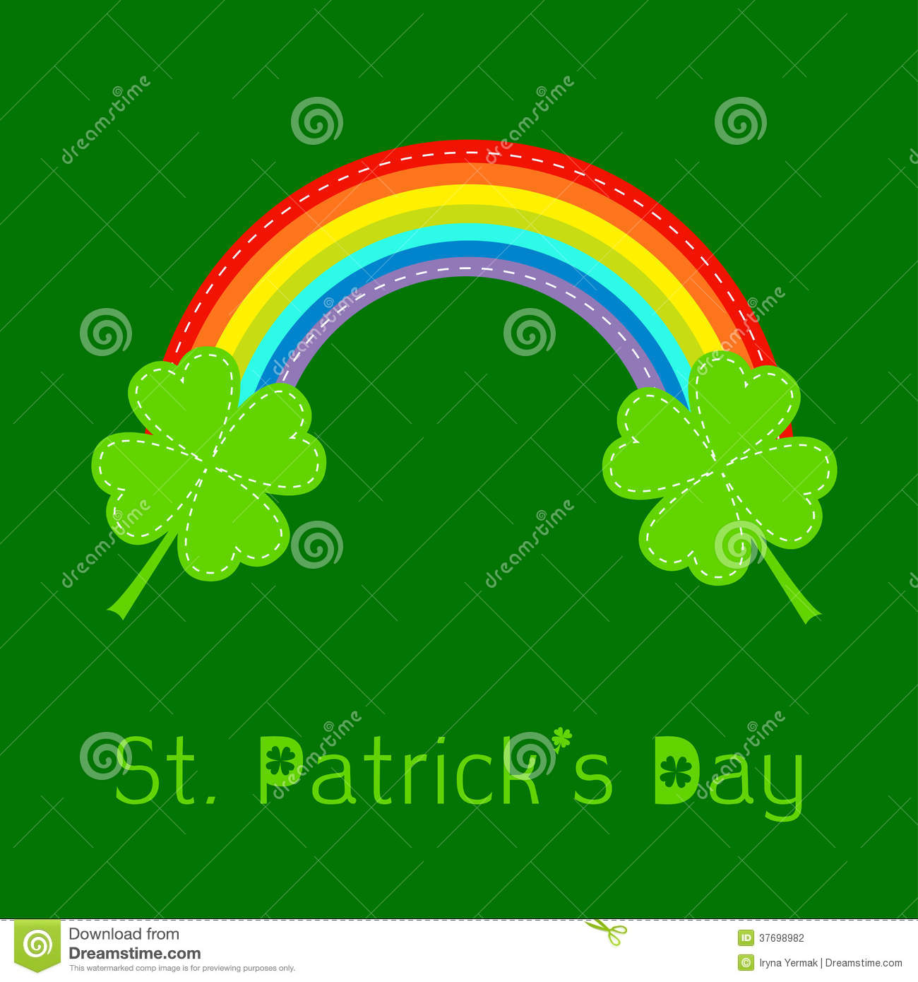 Rainbow And Two Clover Leafs St Patricks Day Card Stock