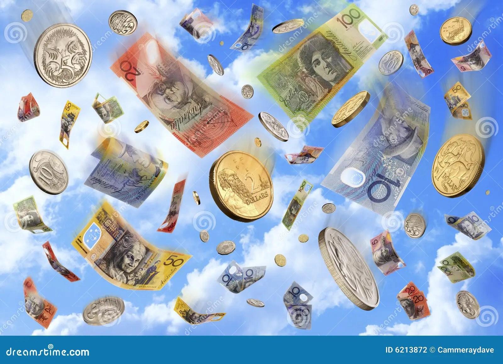 Falling Money Hd Wallpaper Raining Falling Australian Money Dollars Stock