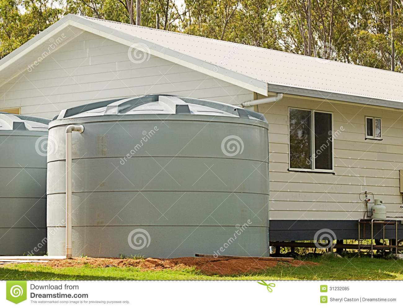 Rainwater Conservation Tanks On New House Royalty Free Stock Photo
